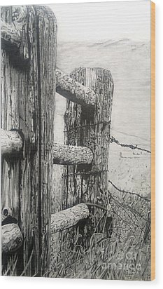 Wood And Wire Wood Print by Jackie Mestrom