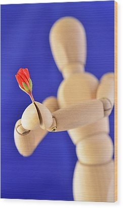 Wooden Man -  Flower For You Wood Print by Gynt