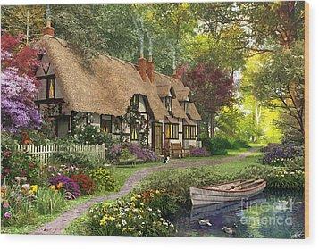 Woodland Walk Cottage Wood Print by Dominic Davison