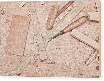 Woodwork Wood Print by Tom Gowanlock