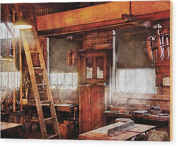 Woodworker - Old Workshop Wood Print by Mike Savad
