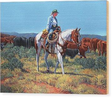 Working Cowgirl Wood Print by Randy Follis