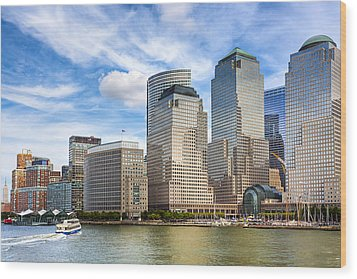 World Financial Center And The Manhattan Waterfront Wood Print by Mark E Tisdale