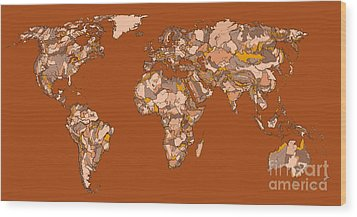 World Map In Sepia Wood Print by Adendorff Design