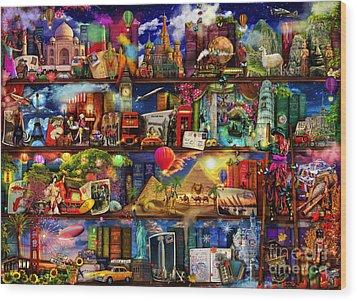 World Travel Book Shelf Wood Print by Aimee Stewart