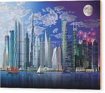 Worlds Tallest Buildings Wood Print by Garry Walton