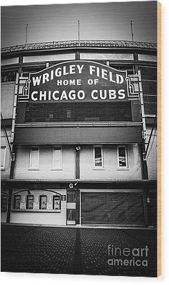Wrigley Field Chicago Cubs Sign In Black And White Wood Print by Paul Velgos