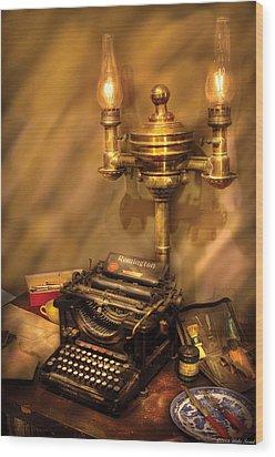 Writer - Remington Typewriter Wood Print by Mike Savad