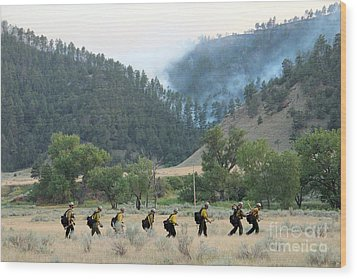 Wood Print featuring the photograph Wyoming Hot Shots Walk To Their Assignment by Bill Gabbert