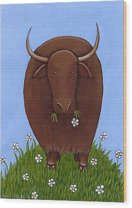 Whimsical Yak Painting Wood Print by Christy Beckwith