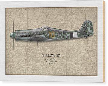 Yellow 10 Focke-wulf Fw190d - Map Background Wood Print by Craig Tinder