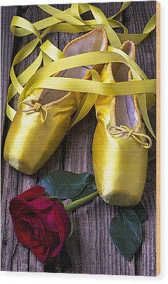 Yellow Ballet Shoes Wood Print by Garry Gay