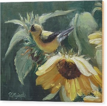 Yellow Bird - Hooded Oriole Wood Print by Viktoria K Majestic