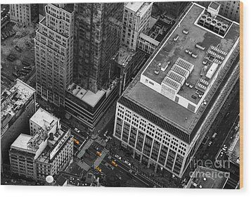 Yellow Cabs - Bird's Eye View Wood Print by Hannes Cmarits