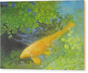 Yellow Carp In Green Wood Print by Robert Conway