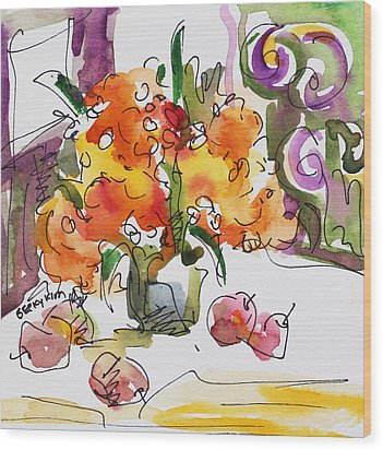 Yellow Flowers And Apples Wood Print by Becky Kim