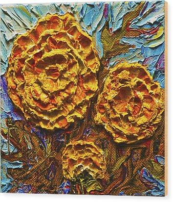 Yellow Marigolds Wood Print by Paris Wyatt Llanso