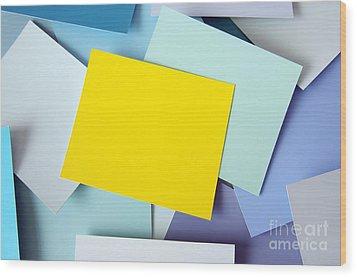 Yellow Memo Wood Print by Carlos Caetano