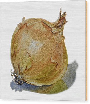 Yellow Onion Wood Print by Irina Sztukowski