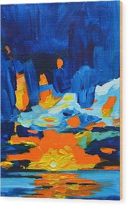 Yellow Orange Blue Sunset Landscape Wood Print by Patricia Awapara