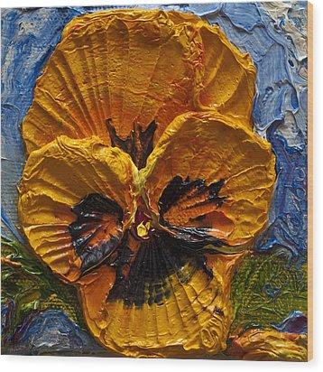 Yellow Pansy Wood Print by Paris Wyatt Llanso