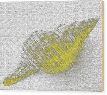 Yellow Seashell Wood Print by Carol Lynch