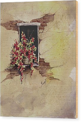 Yellow Wall With Red Flowers Wood Print by Sam Sidders