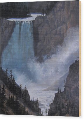 Yellowstone Falls Evening Wood Print by Mar Evers