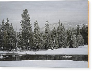 Yellowstone Gibbon Meadows Spring Snow And Reflection Wood Print by Bruce Gourley