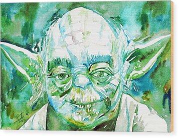 Yoda Watercolor Portrait Wood Print by Fabrizio Cassetta