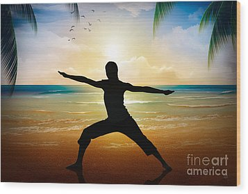 Yoga On Beach Wood Print by Bedros Awak