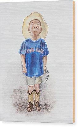 Young Cowboy  Wood Print by Irina Sztukowski