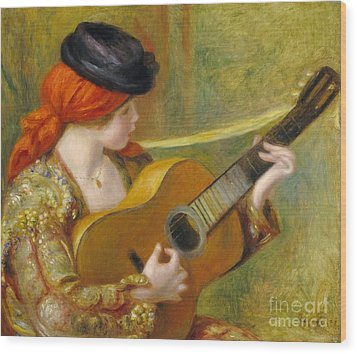 Young Spanish Woman With A Guitar Wood Print by Pierre Auguste Renoir