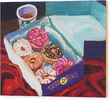 Yum Yum Donuts Wood Print by Sean Boyce