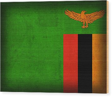 Zambia Flag Distressed Vintage Finish Wood Print by Design Turnpike
