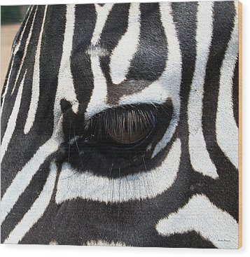 Zebra Eye Wood Print by Linda Sannuti