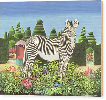 Zebra In A Garden Wood Print by Anthony Southcombe