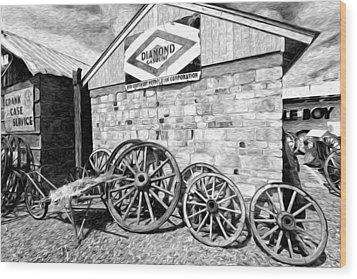 Antique Wagon Wheels Wood Print by James Steele