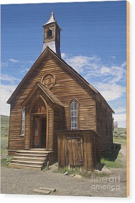 Bodie Ghost Town - Church 01 Wood Print by Gregory Dyer