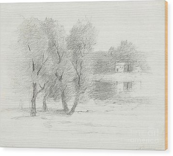 Landscape - Late 19th-early 20th Century Wood Print by John Henry Twachtman