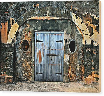 Old Wooden Doors Wood Print by Perry Webster
