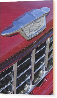 1955 Chevrolet Pickup Truck Grille Emblem Wood Print by Jill Reger