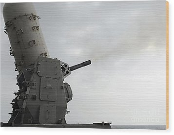 A Close-in Weapons System Is Fired Wood Print by Stocktrek Images