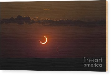 Annular Solar Eclipse Wood Print by Phillip Jones