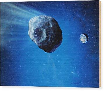 Asteroid Approaching Earth Wood Print by Detlev Van Ravenswaay