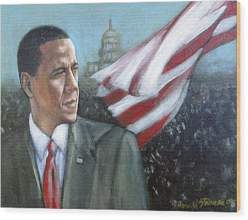 Barack Obama Wood Print by Howard Stroman
