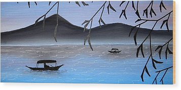Boats On Lake Wood Print by Edwin Alverio
