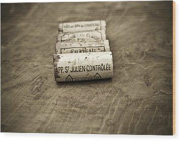 Bordeaux Wine Corks Wood Print by Frank Tschakert
