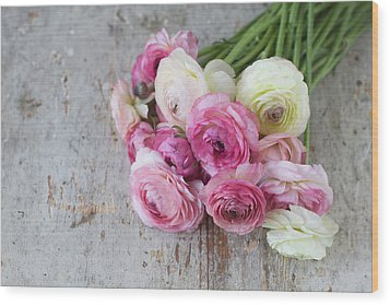 Bouquet Of Pink Ranunculus Wood Print by Elin Enger