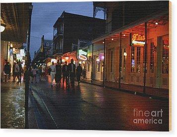 Bourbon Street At Dusk Wood Print by Thomas R Fletcher
